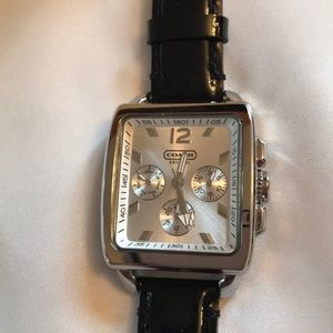 Coach NWT square silver/Black watch